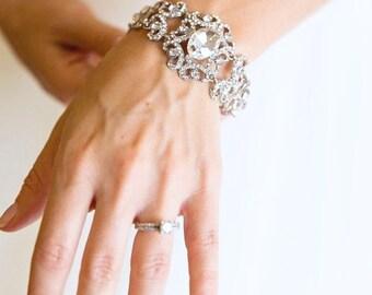 Ornate Crystal Bridal Bracelet, Swarovski Crystal Wedding Bracelet, Wedding Rhinestone Bracelet, Diamante Bangle Bracelet,
