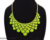 Gold and Lime Green Statement/Bib Necklace