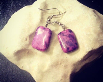 Purple Jasper Earrings with Surgical Steel Ear Hooks