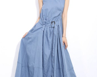 Summer dress Loose fitting Long Sundress Maxi Dress in blue (C300)
