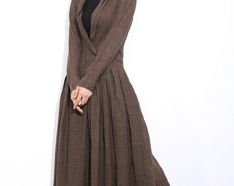 brown linen dress Long sleeves dress C304