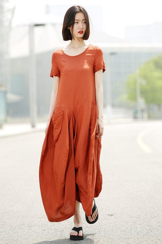 Orange Linen Dress Womens Linen Lagenlook Clothing By Yl1dress
