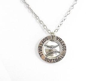 Softball Necklace, Softball Gift, Softball Jewelry, Softball Team Gift, Sport Necklace, Team Jewelry, Softball Coach Gift, Softball Mom
