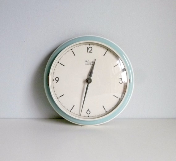 Mid century modern kitchen wall clock duck egg by - Modern clocks for kitchen ...
