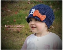 The Original- Crochet Newsboy Hat with Old English D Patch and Bow / Major League Baseball Baby / Photo Prop / Item 102