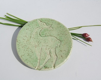 Deer Ring Dish Mint Green made in UK