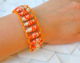 Orange and White Paper Bead Bracelet - Meandering Journey Bracelet - Orange and White Handmade Paper Beads and Orange Seed Beads -