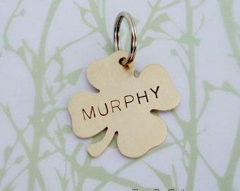Lucky Four Leaf Clover Pet Tag - Custom Cat or Dog Pet ID- Handmade
