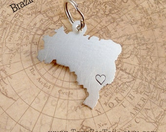 Brazil Key Chain with one Heart or Star over your city-  Handmade