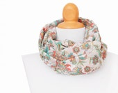 Infinity scarf for women - Cotton floral circle scarf