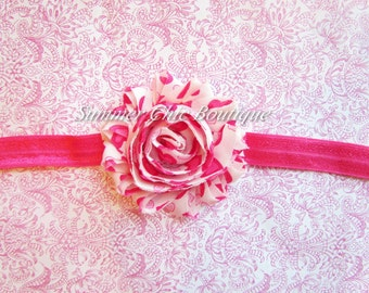Headband, Pink Hearts Headband, Baby Headband, Infant Headband, Girls Headband - Shabby Chic Headband