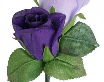 Purple and Lavender Silk Rose Double Boutonniere - Wedding Boutonniere Prom