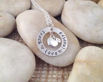 Teach Love Inspire Hand Stamped Teacher Necklace with Apple Charm - Teacher Gift - Teacher present - Teacher Appreciation Gift