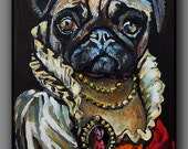 Pug lady femme fatale in red evening dress with lace collar, pearl necklace, medallion, and ornate belt. Modern bold painting in oils