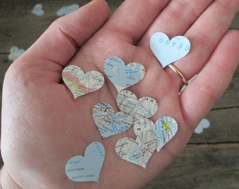 500 Map Hearts, Confetti, Maps, Fashioned From Vintage Atlas Pages, Travel Decor, Map Hearts, Heart Confetti