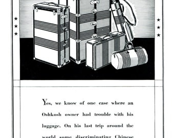 Oshkosh Trunks Suitcase Luggage Ad 1930s Black and White Wisconsin 1931 Original