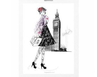 Vintage London Fashion Illustration Art Print