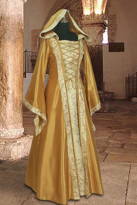 Medieval Dress Gown in Gold and Cream Renaissance Costume Clothing with hood