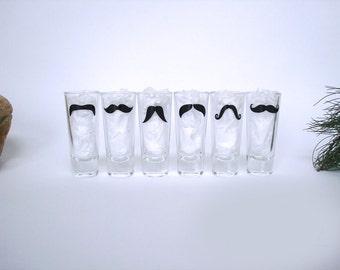 6 Personalized Mustache Shot Glasses - Bachelor Party Shot Glasses - Wedding Party Glasses - Choose Your Mustache Style