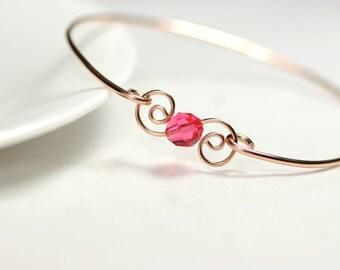Rose Gold Pink Swarovski Crystal Bangle Rose Gold Bracelet Rose Gold Bangle Pink Swarovski Crystal Bracelet Pink Gold Bracelet