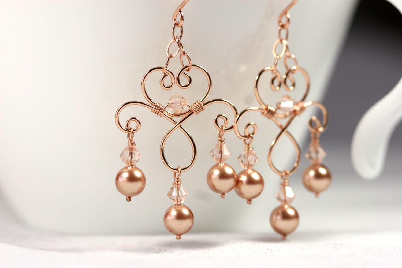 Rose Gold Chandelier Earrings Wire Wrapped Jewelry Handmade