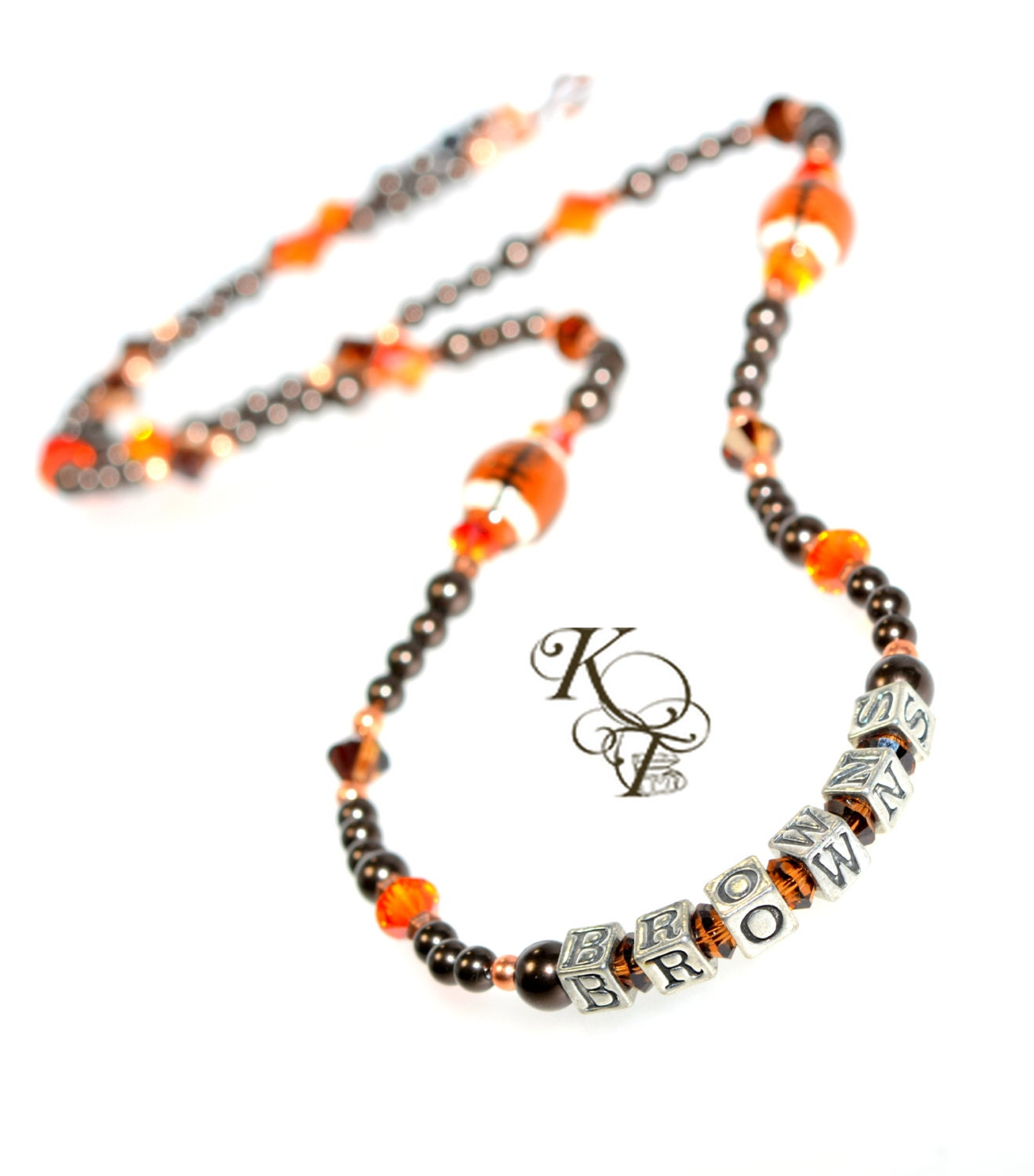 browns inspired necklace football jewelry sports jewelry