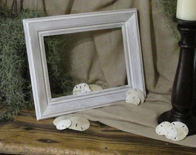Wood Beach Frame, Beach Frame, Distressed Frame, Shabby Decor, Beach Wedding Frame, Photo Frame, Rustic Decor, Whitewashed Frame