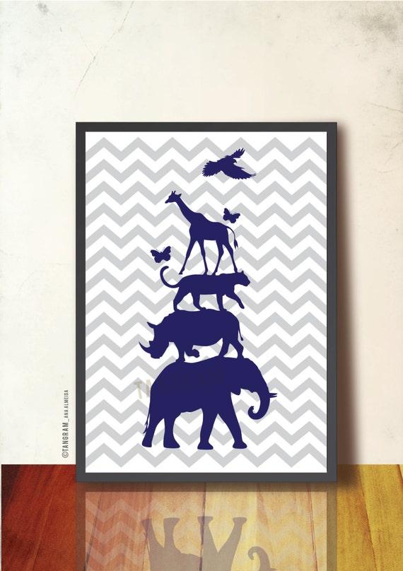 Jungle Wall Decor For Nursery : Baby nursery wall art jungle animal pyramid poster