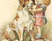 "Little Girl, Big Dog, Girl's Best Friend, ""So Big"", Vintage Restored Art, Great Print for Little Girl's Room, Great Nursery Print #93"