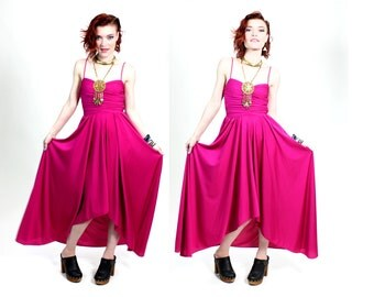 1970s Neon Pink Fishtail Maxi Dress