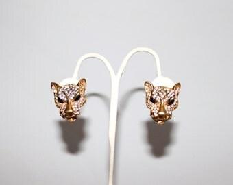 1960s Rhinestone Leopard Gold Clip Earrings