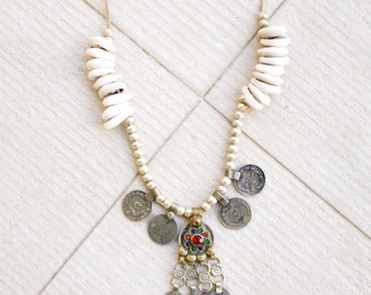 Isla Necklace Cowrie shell & banjara coin necklace