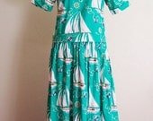 Handmade Nautical Cotton Yacht Club Print Dress in Bright Kelly Green for your Beach Vacation, size M