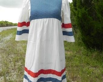 1970's Prairie Girl Boho Dress