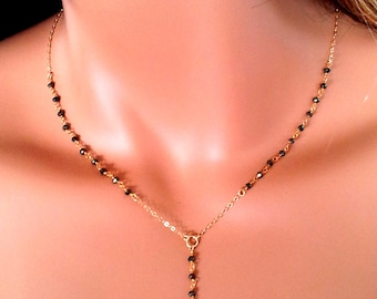 Petite Gold Rosary Necklaces Pyrite Gemstone 14kt Gold Filled Rosaries Real Housewives