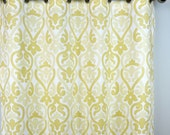 Saffron Yellow Pale Gold Light Beige Off White Alex Damask Curtains - Grommet - 84 96 108 or 120 Long by 25 or 50 Wide - Optional Blackout
