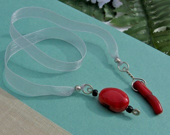 Jeweled Bookmark, Natural Coral Beads, Deep Red, Silver Organza Ribbon, Silver Wrapped Fobs, Book Lovers Gift, Handmade, Designer Original