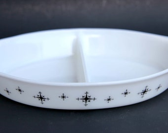 Vintage PYREX White Milk glass Atomic Starburst Snowflake Divided Serving Baking Dish White and Black in New Condition