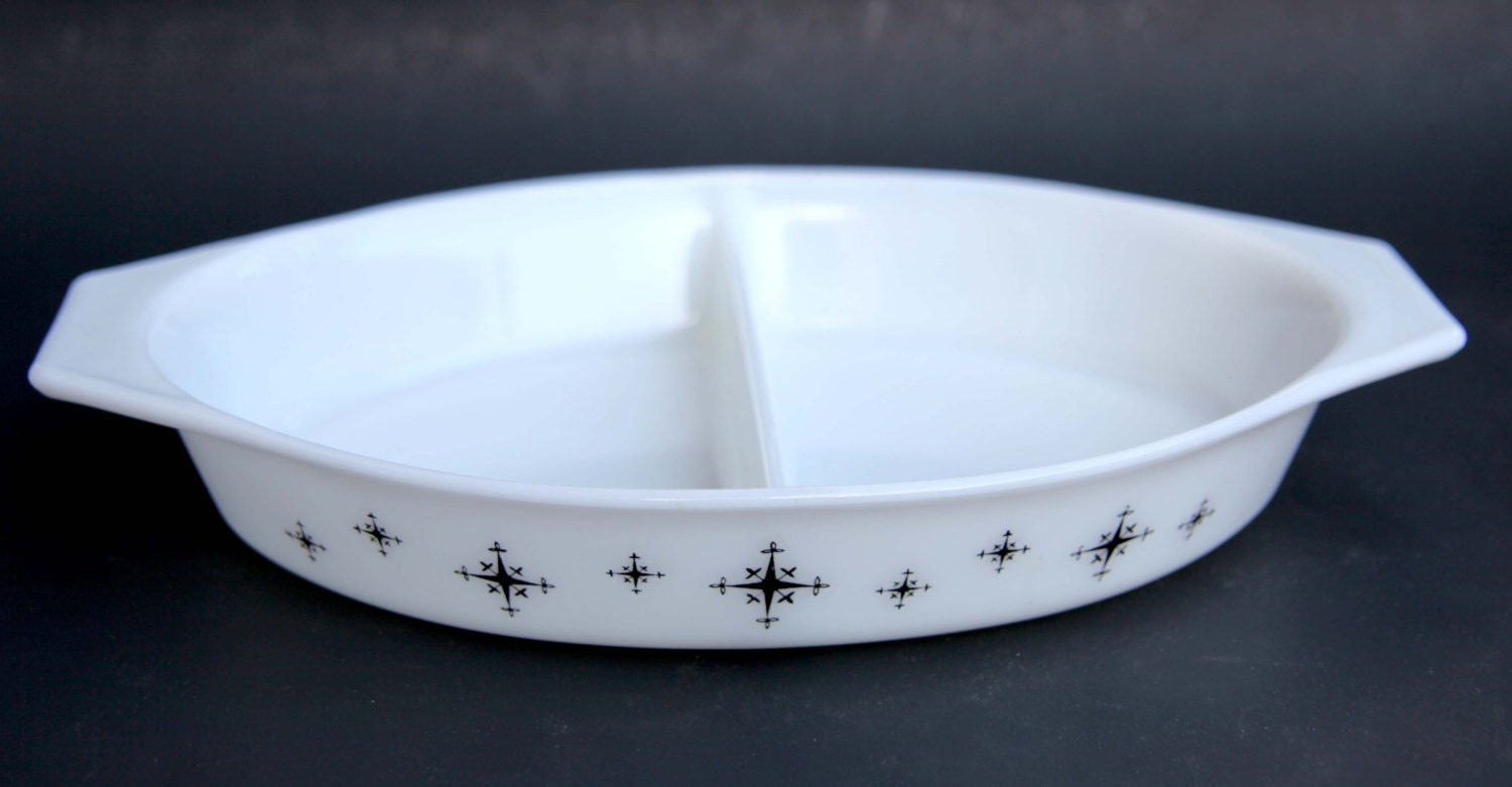 Vintage Pyrex White Milk Glass Atomic Snowflake Divided