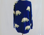 Polar Bear Sweater, Blue Sweater, 1990s Sweater, Unisex Sweater, 44 Inch Bust