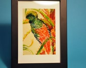 Resplendent Quetzal, Mini Archival Print, by Michelle Kogan, Bird, Art and Collectibles, Red, Orange, Watercolor, Children's Art, Painting