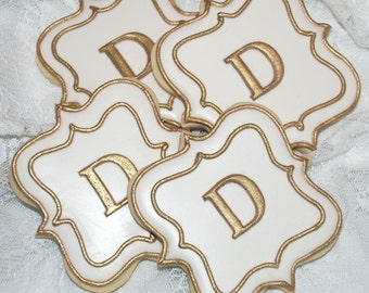White and Gold Fancy Square Plaque Monogram Cookies - One Dozen Decorated Wedding Cookies