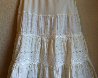 White Eyelet Skirt With A Tulle Petty-coat