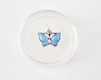Sterling Silver Blue Guilloche Enamel Butterfly Necklace Pendant Charm, Volmer Bahner / V.B. Denmark, Fully Marked