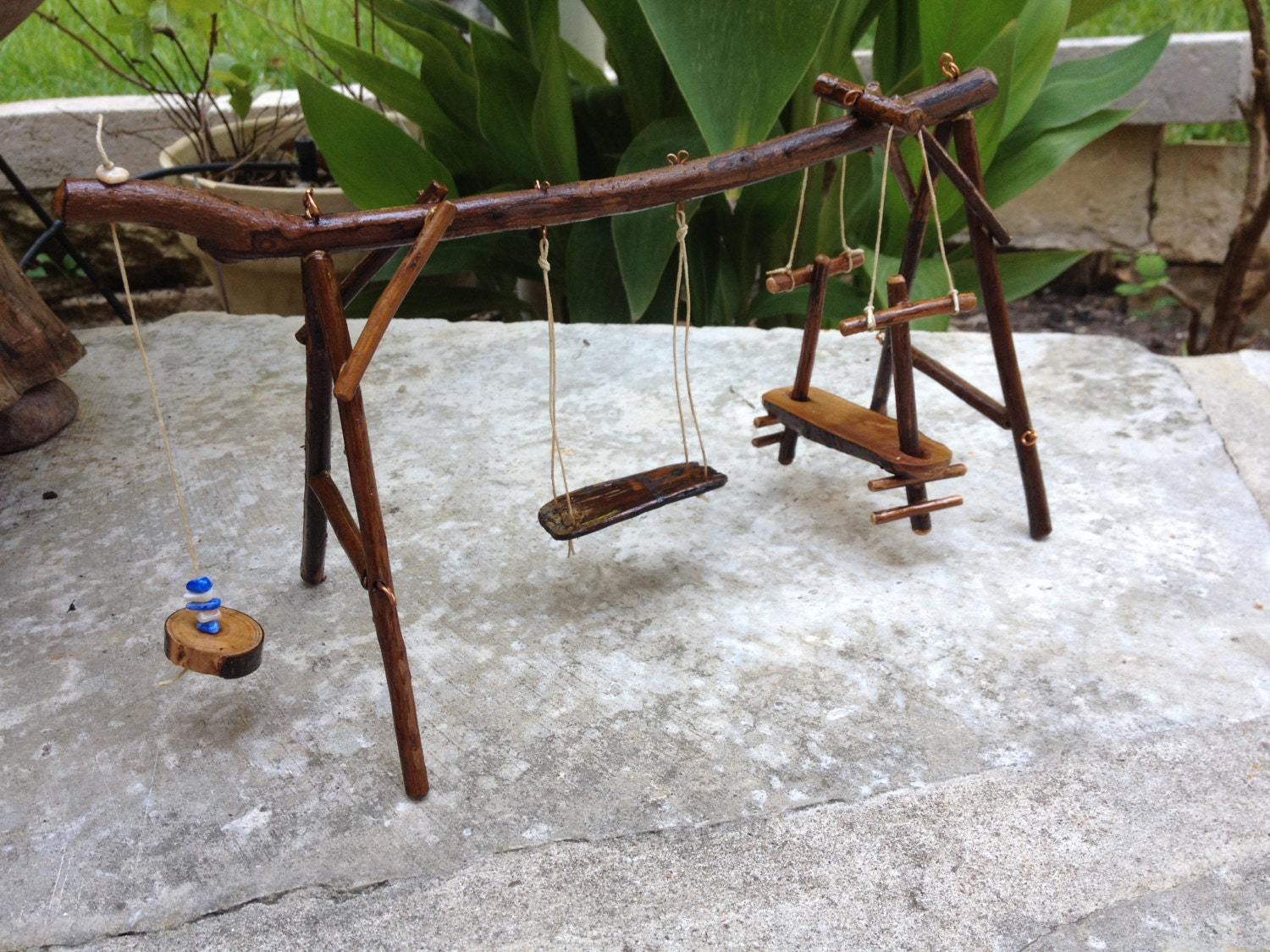 miniature fairy garden swing set. Black Bedroom Furniture Sets. Home Design Ideas
