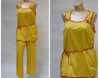 Vanity Fair Lingerie / Vintage Vanity Fair /  Lemon Pajama Set / Vintage Lounge Set / Citrus Summer Pajama Set M