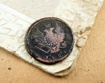 1821 Old Russian Coin Antique Copper Coin - 2 kopeck - c5