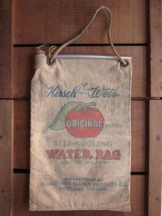 Vintage Hirsch Weis Canvas Water Bag Complete By Antiquelove22