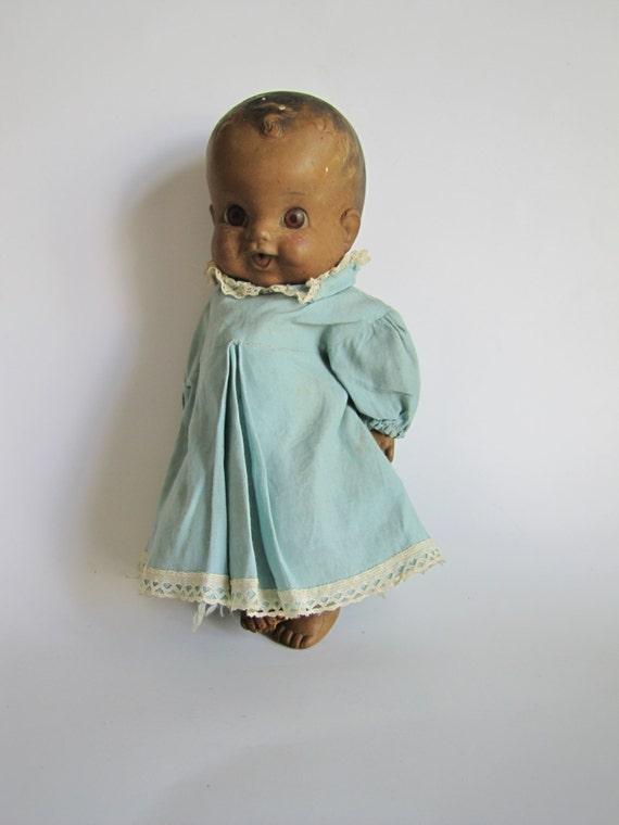 Vintage Black Baby Doll Amosandra Blue Dress Rubber