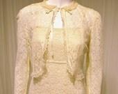 Sweet Vintage Ivory All Lace Wedding Maxi Dress with Matching Lace Bolero Jacket